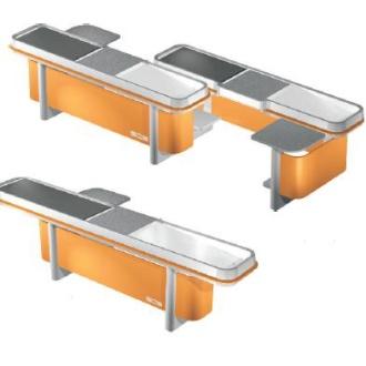 Banchi cassa SCS e mobili componibili per la vendita per negozi d'alimentari e supermercati